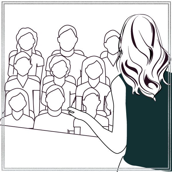 Illustration of Melanie speaking in the conference